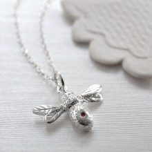Sterling Silver and Ruby Bee Charm Necklace