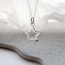 Sterling Silver and Ruby Open Star Charm Necklace