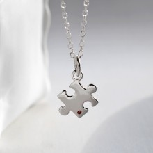 Sterling Silver and Ruby Jigsaw Puzzle Charm Necklace