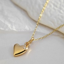 9 Carat Gold and Diamond Warm Heart Charm Necklace