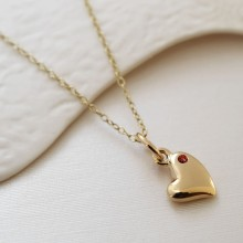 9 Carat Gold and Ruby Warm Heart Charm Necklace