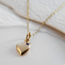 9 Carat Gold and Sapphire Warm Heart Charm Necklace