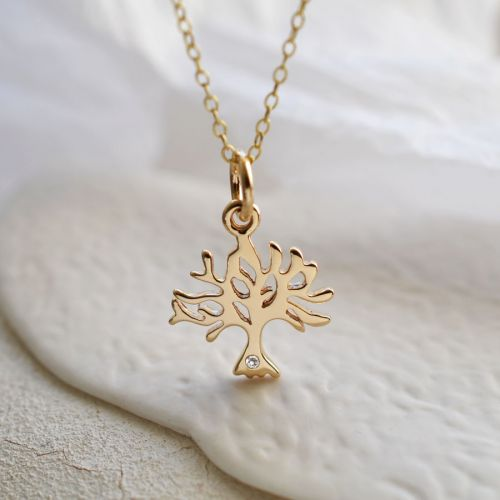 9 Carat Gold and Diamond Tree Charm Necklace