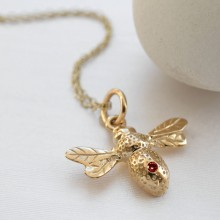 9 Carat Gold and Ruby Bee Charm Necklace