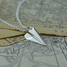Silver Paper Plane Necklace