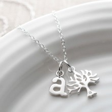 Sterling Silver and Diamond Tree Charm Necklace