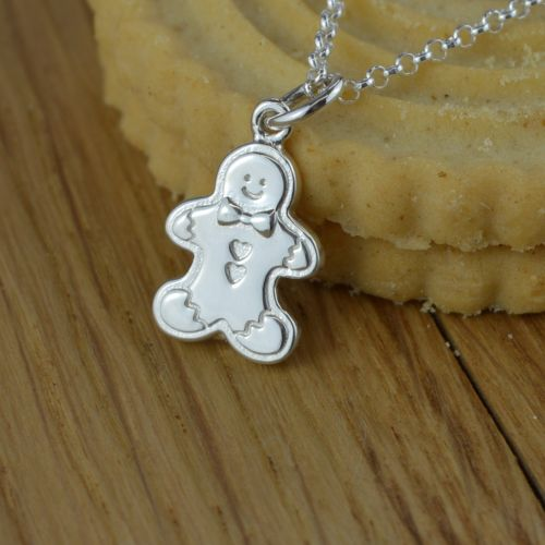 Silver Gingerbread Man Necklace