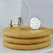 Rich Tea Silver Cufflinks