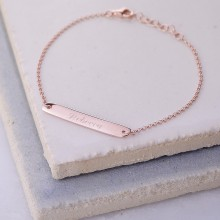 Personalised Rose Gold Horizontal Bar Bracelet