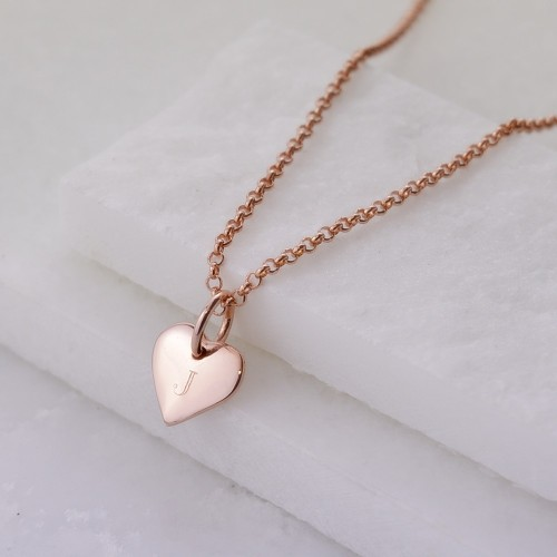 Personalised Necklace: Engraved Rose Gold Initial Heart Necklace