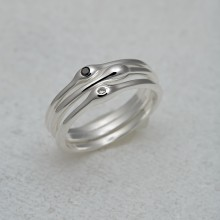 Organic Silver & Diamond Stacking Rings