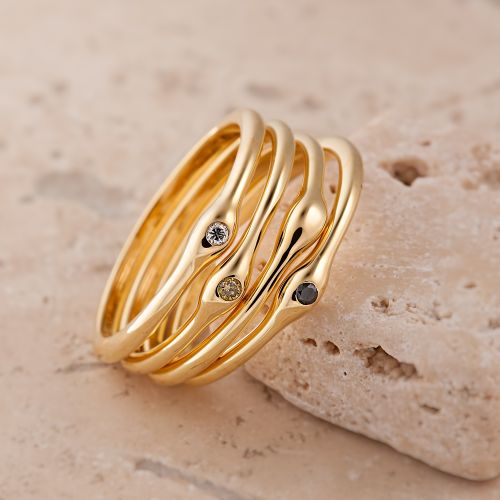 Organic Gold & Diamond Stacking Rings