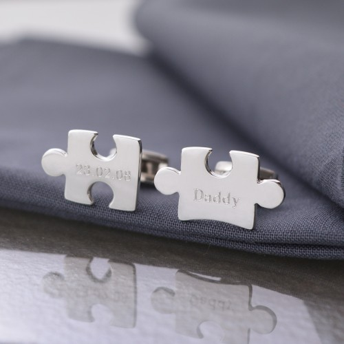 Jigsaw Puzzle Engraved Silver Cufflinks