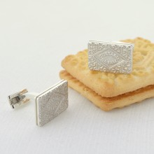 Custard Cream Silver Cufflinks