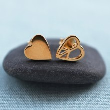 Gold Heart Stud Earrings with Peace Symbol