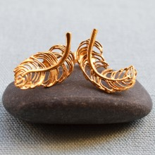 Gold Feather Stud Earrings (Mismatched)