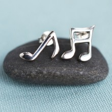 Silver Music Note Stud Earrings (Mismatched)