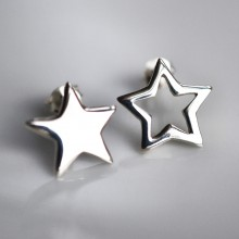 Silver Star Stud Earrings (Mismatched)