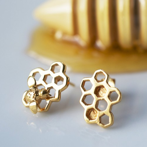 Gold Honeycomb Earrings (Studs Mismatched)