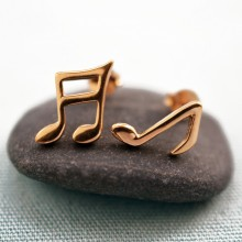 Gold Music Stud Earrings (Mismatched)
