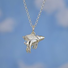 Silver Flying Pig Necklace