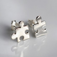 Silver Jigsaw Puzzle Stud Earrings (Mismatched)