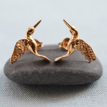 Gold Hummingbird Stud Earrings