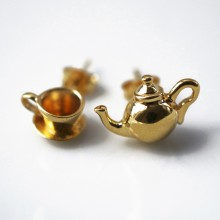 Gold Tea Time Earrings (Mismatched)