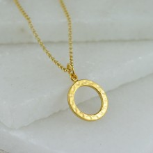 Silver Hammered Ring Necklace (small)