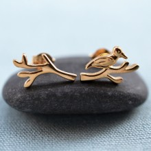Gold Bird and Branch Earrings (Studs Mismatched)