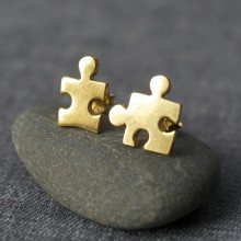 Gold Jigsaw Puzzle Earrings (Mismatched studs)