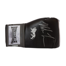 Mike Tyson Signed Boxing Glove Black Lonsdale Glove In Acrylic Display Case