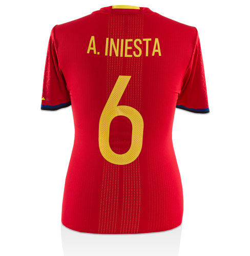 Andres Iniesta Signed and Match Worn Spain 2015-16 Home Shirt