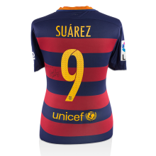 Luis Suarez Signed and Match Worn Barcelona 2015-16 Home Shirt: El Clasico Predator