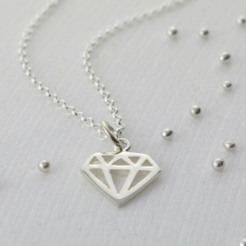 Silver Diamond Charm Necklace