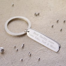 Personalised Bar Silver Key Ring
