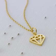 Personalised Gold Geometric Diamond Necklace