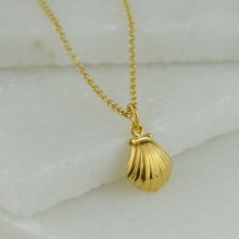 Personalised Gold Clam Shell Necklace