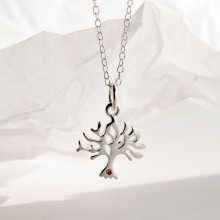 Personalised Silver and Ruby Tree Necklace