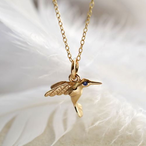 Personalised 9 Carat Gold and Sapphire Hummingbird Necklace