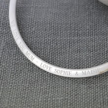Engraved Silver Flat Bangle