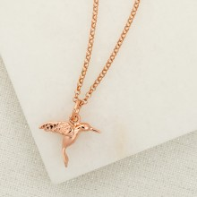 Personalised Rose Gold Hummingbird Necklace