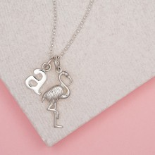 Personalised Silver Flamingo Necklace