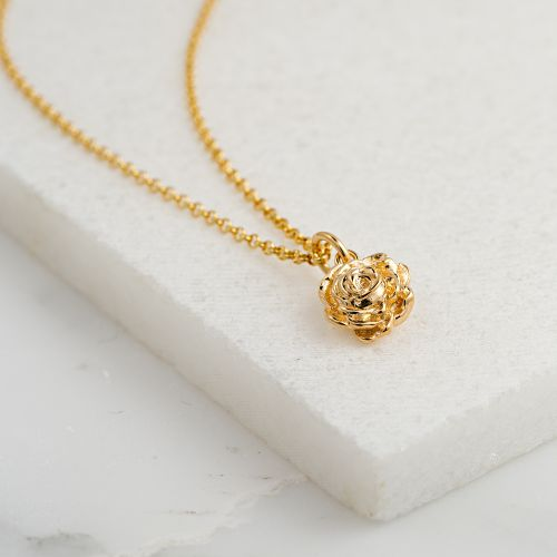 Personalised Gold Rose Necklace