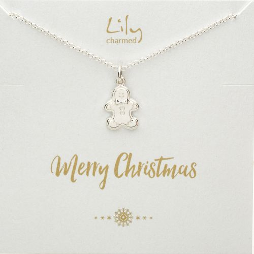 Silver Gingerbread Man Necklace with 'Merry Christmas' Message