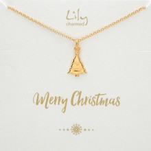 Gold Christmas Tree Necklace with 'Merry Christmas' Message