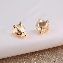 Gold Fox Stud Earrings