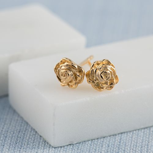 Gold Rose Stud Earrings