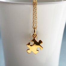 Gold Jigsaw Puzzle Necklace