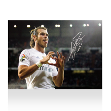 Gareth Bale Signed Real Madrid Photo: Trademark Heart Celebration